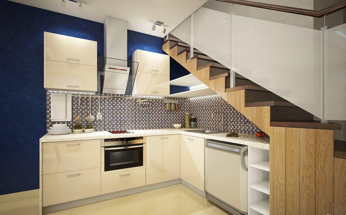 Keuken Onder Trap : Planken onder de trap. meubilair onder de trappenhuizen in de